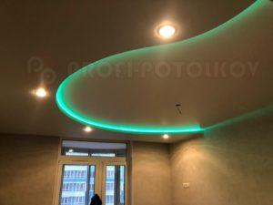 Двухуровневый натяжной потолок с подсветкой | «Профи-Потолков»