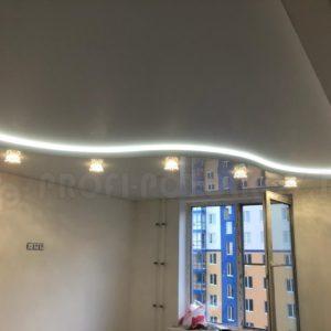 Двухуровневый натяжной потолок Мат+Глянец